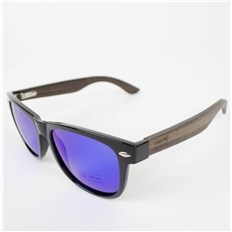 okulary słoneczne SNOWBITCH - Black frame Ebony wood arms with Blue lens 2 (BLACK)