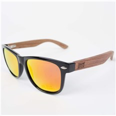 okulary słoneczne SNOWBITCH - Black frame Rose wood arms with Red lens 3 (BLACK)