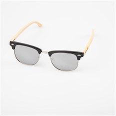 okulary przeciwsłone SNOWBITCH - black frame and white mirror lens natural bamboo (BLACK)