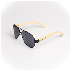 okulary przeciwsłone SNOWBITCH - black frame and smoke lens natural bamboo (BLACK)